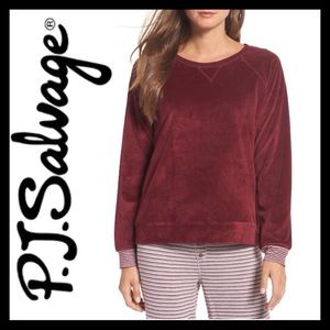 NEW! P.J. Salvage Velour Top Burgundy
